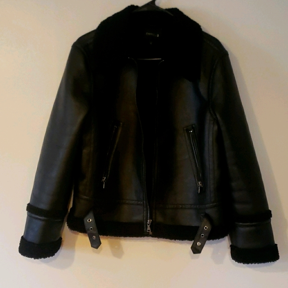 NWOT Express Faux Leather Shearling Jacket